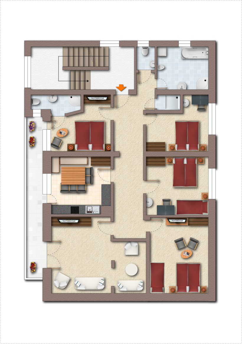 Top 4 floor plan ©Fiechtl Apartments